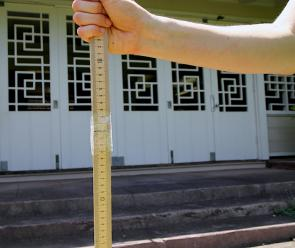 <p><strong>Fig. 5.13.</strong> Attach two one-meter sticks together to make one two-meter high transit pole.</p>