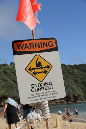 <p><strong>Fig. 5.18.</strong> A sign warns beach goers at Hanauma Bay, O'ahu, Hawai'i of the potentially strong longshore currents that flow parallel to shore.</p><br />