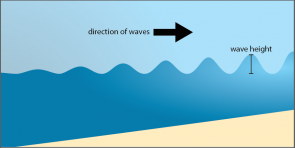 <p><strong>Fig. 5.3.</strong> Diagram of the profile of a wave approaching shore; notice that the wave height increases as the water gets shallower.</p><br />