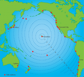 <p><strong>Fig. 5.33.</strong> Estimates of tsunami travel time across the Pacific ocean basin for a tsunami originating in Hawai'i. The concentric dotted circles represent the travel time in hours from Honolulu.</p><br />