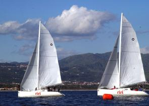 <p><strong>SF Fig. 5.2.</strong> The U.S. sailing team jockeys for position and tries to find the best wind during the 6th race of the 3rd World Military Games sailing competition in Sicily, 2003.</p><br />