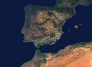<p><strong>SF Fig. 6.15.</strong> Satellite image of the Strait of Gibraltar and western Mediterranean Sea</p><br />