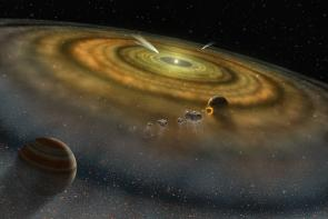 <p><strong>Fig. 7.2.</strong> An artist's conception of dust and gas cloud surrounding a young solar system</p>