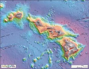 <p><strong>Fig. 7.53.</strong> This is a sea floor map made of the Southernmost Hawaiian Island chain by University of Hawai'i researchers using sonar. It depicts the underwater volcanoes and other features of the sea floor.</p>