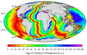 <p><strong>Fig. 7.58.</strong> The age of oceanic crust in millions of years. The youngest crust (shown in red) is near mid ocean ridges and spreading zones.</p><br />
