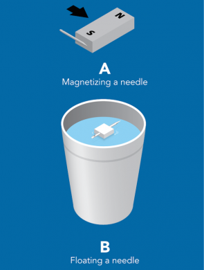 <p><strong>Fig. 8.12.</strong> (<strong>A</strong>) Magnetize a needle by rubbing its tip against a magnet. (<strong>B</strong>) Float the magnetized needle in a cup of water after sticking it through a piece of Styrofoam.</p>