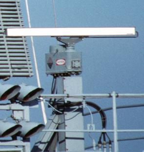 <p><strong>Fig. 8.23.</strong> (<strong>A</strong>) A rotating radar antenna atop the US Navy aircraft carrier <em>USS Theodore Roosevelt</em> is used to detect other ships within 65 km.</p>