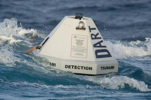 <p><strong>Fig. 2.19.</strong> A National Oceanic and Atmospheric Administration (NOAA) buoy used to detect changes in wave height. This buoy is used to monitor tsunami activity.</p><br />