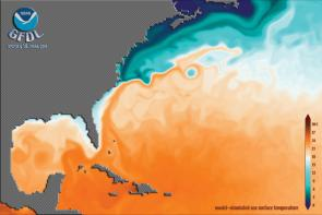 <p><strong>SF Fig. 3.4.</strong> Gulf Stream sea surface temperature in the western Atlantic ocean basin as viewed in a computer simulation model. Warmer water is shown in red and orange tones.</p><br />
