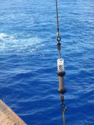 <p><strong>Fig. 6.33.</strong> Hydrophone being lowered into the ocean</p><br />