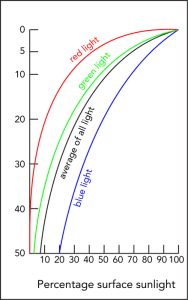 <p><strong>Fig. 9.9.</strong> The intensity of sunlight decreases rapidly with depth.</p><br />