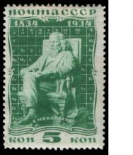 <p><strong>SF Fig. 2.15.</strong> (<strong>A</strong>) Mendeleev stamp from the former Soviet Union.</p><br />