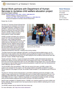 Image of University News article titled Social Work partners with Department of Human Services to revitalize child welfare education project