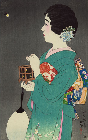 Hotarugari (Firefly catching) by Shinsui Itō with link to image source