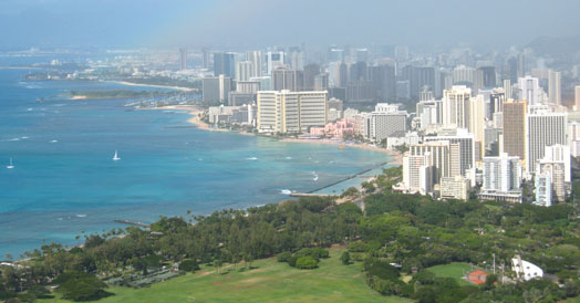 Aerial view of downtown Honolulu