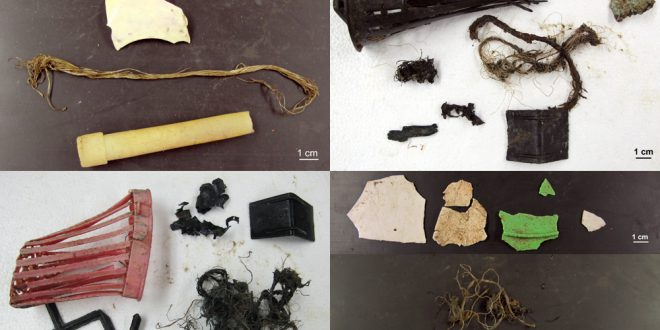 Examples of marine debris found in fish stomachs.  Image courtesy C. Anela Choy.