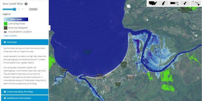 Hanalei, Kauai sea-level rise map