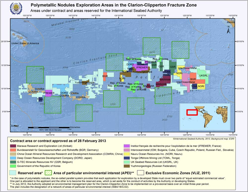 Polymetallic Nodules Exploration Areas in the  Clarion-Clipperton Fracture Zone