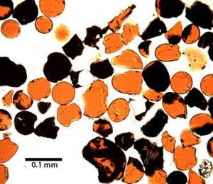 Pyroclastic glass beads