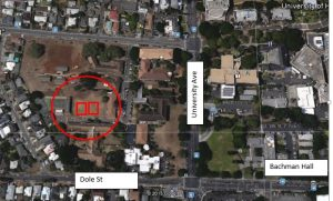 Map of the net zero classrooms building site, adjacent to the College of Education on the UH Mānoa campus