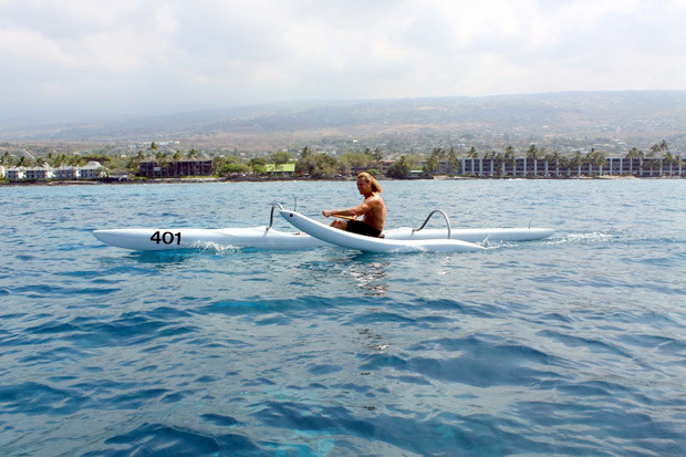 Barkhoff is an avid paddler and surfer. Here he participates in a one-man outrigger race in Keauhou, Hawaiʻi Island. Courtesy photo.