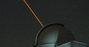 The ultraviolet Robo-AO laser originating from the Palomar 1.5-meter telescope dome.