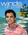 "Isaiah Sato on the cover of ""Winds of Change"" magazine"