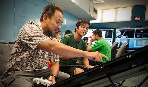 From left, Computer Science Professor Jason Leigh and CreaTable designer Noel Kawano
