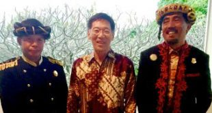 From right, The Sultan of Tidore, Professor Karl Kim and the Assistant to the Sultan M. Iskandar