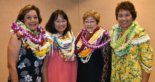 Nursing alumnae inducted into the Hall of Fame, from left, Sally Ishikawa, Connie Mitchell, Jillian Inouye and Mary Frances Oneha
