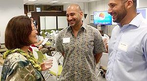 Senator Hirono receives an update from Omar and Tarik Sultan on their work with XLR8UH