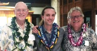 ARCS 2016 Scientist of the Year Brent Tully, left, with ARCS Scholar of the Year BJ Fulton and UH Mānoa Institute for Astronomy Director Guenther Hasinger