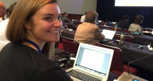 UH law student Claire Colegrove reacts to the approval of Hawaiʻi's 7 motions at the IUCN World Conservation Congress.