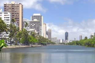 The Ala Wai Canal in Waikīkī is part of the 19-square-mile Ala Wai watershed.