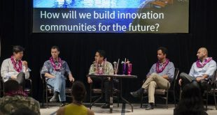 From left, Hank Wuh of Skai Ventures, Tim Dick of Startup Capital Ventures, Luis Salaveria of DBEDT and Omar Sultan of XLR8UH at the 2015 Future Focus Conference