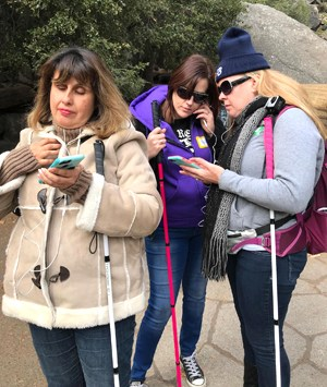 Martha Espitia, Nikki Richards and Sarah Harris testing the UniD mobile app in Yosemite.