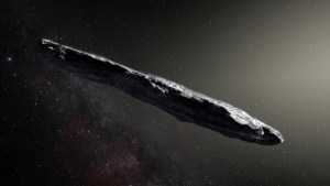 This artist's impression shows the first detected interstellar asteroid ʻOumuamua. Credit: ESO/M. Kornmesser