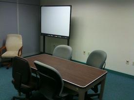 Whiteboard in presentation practice room