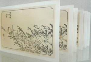 Multiple panels of line drawings of trees on a hillside