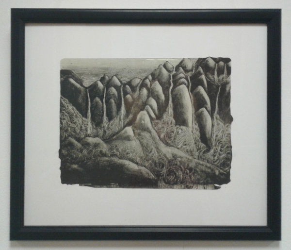 Black and white print of mountains