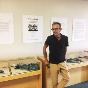 Jackob Hofmann standing next to his exhibit