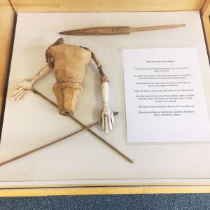 Partially completed puppet torso and limbs. Pamphlet describing materials and construction