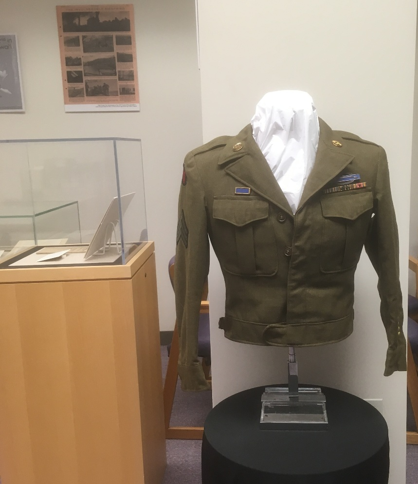 Military jacket on display