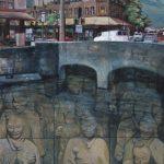 Landscape painting of River Street bridge by Sidney T.K. Yee