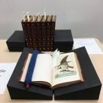 a book open to an illustration of a bird with a fish in its talons