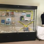 Display case for library banned books exhibit