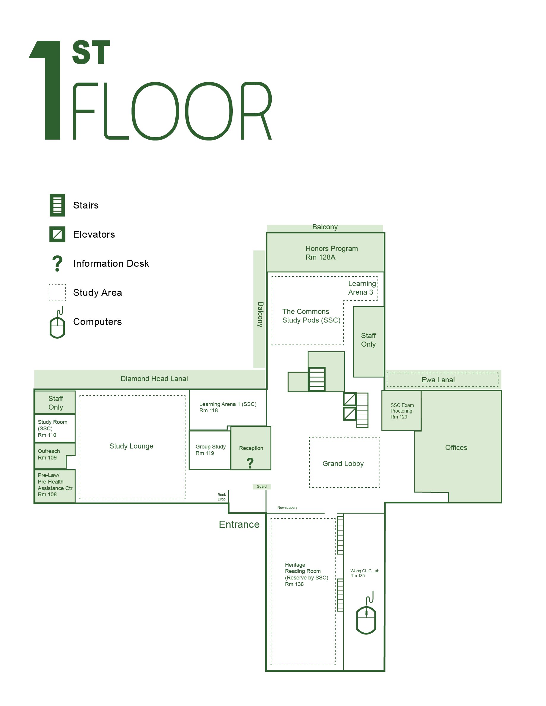 Library floor plans university of hawaii manoa library for Vice president house floor plan