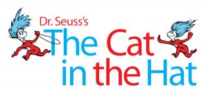 """Logo for """"Dr. Seuss's The Cat in the Hat,"""" in red and blue text, with two creatures in red pajamas and blue hair running and playing"""