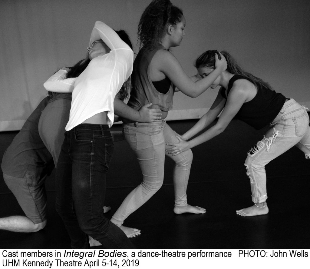 Black and white publicity photo for Integral Bodies featuring cast