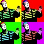 Four squares with the repeated image of a mime with a painted white face holding up his hand, each square with a different combination of bright colors in the style of Andy Warhol
